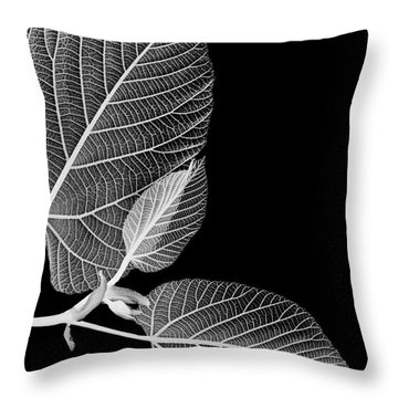 Black And White X Ray Leaves  Throw Pillow