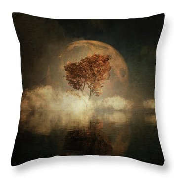 Throw Pillow featuring the digital art Black Ash With Full Moon In The Mist by Jan Keteleer
