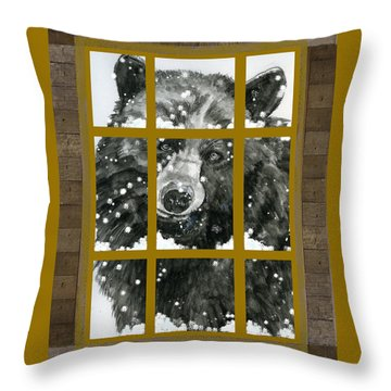 Black Bear, Outside My Window Throw Pillow