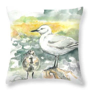 Black-billed Gull Family Throw Pillow