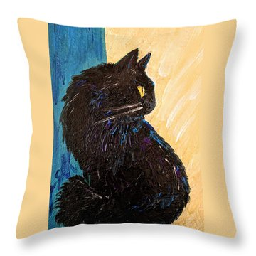 Black Cat In Sunlight Throw Pillow