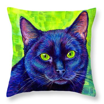 Black Cat With Chartreuse Eyes Throw Pillow