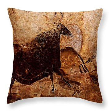 Black Cow And Horses Throw Pillow