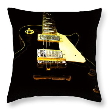 Black Guitar With Gold Accents Throw Pillow
