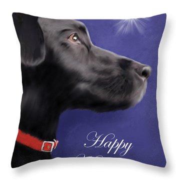 Black Labrador Retriever - Happy Holidays Throw Pillow