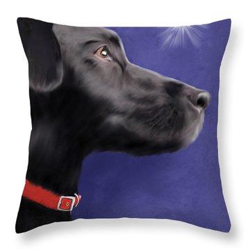 Black Labrador Retriever - Wish Upon A Star  Throw Pillow