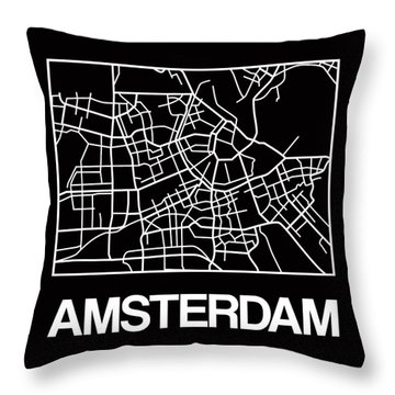 Black Map Of Amsterdam Throw Pillow