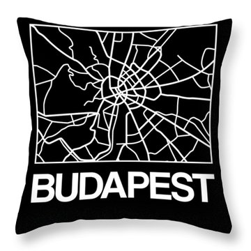 Black Map Of Budapest Throw Pillow
