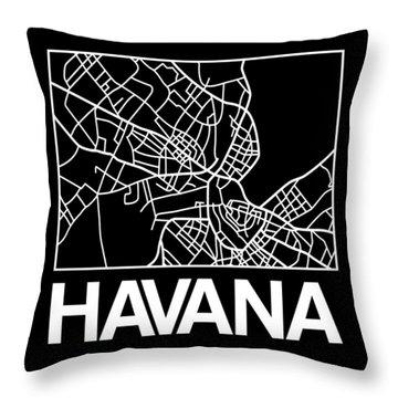 Black Map Of Havana Throw Pillow