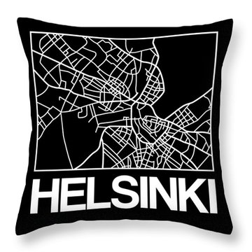 Black Map Of Helsinki Throw Pillow