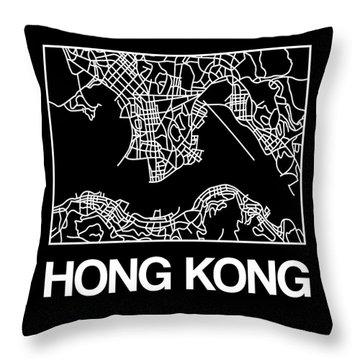 Black Map Of Hong Kong Throw Pillow