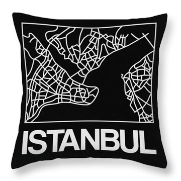 Black Map Of Istanbul Throw Pillow
