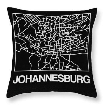 Black Map Of Johannesburg Throw Pillow