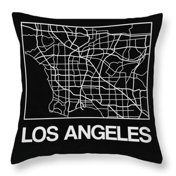 Black Map Of Los Angeles Throw Pillow