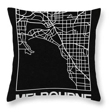 Black Map Of Melbourne Throw Pillow