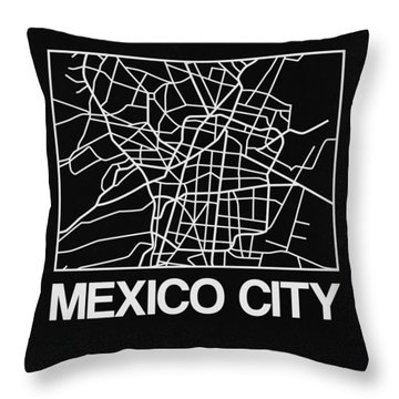 Black Map Of Mexico City Throw Pillow