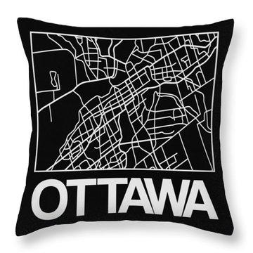 Black Map Of Ottawa Throw Pillow