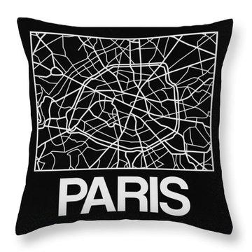 Black Map Of Paris Throw Pillow