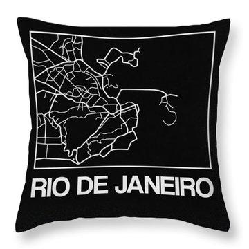 Black Map Of Rio De Janeiro Throw Pillow