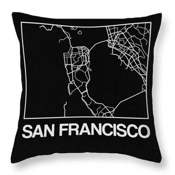 Black Map Of San Francisco Throw Pillow