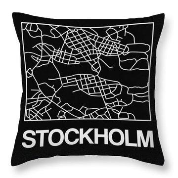 Black Map Of Stockholm Throw Pillow