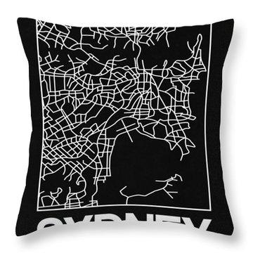 Black Map Of Sydney Throw Pillow