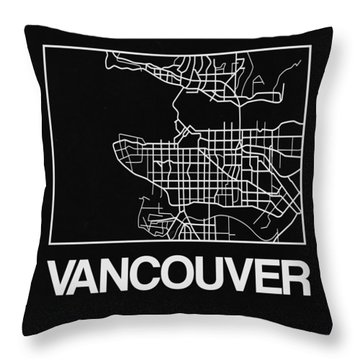 Black Map Of Vancouver Throw Pillow