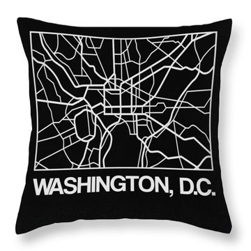 Black Map Of Washington, D.c. Throw Pillow