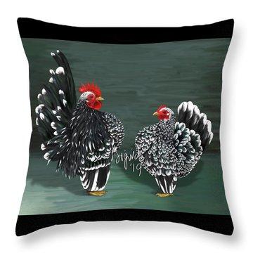 Black Mottled Serama Pair Throw Pillow