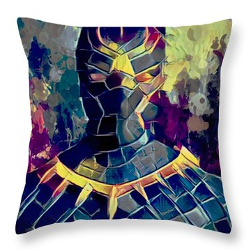 Throw Pillow featuring the mixed media Black Panther by Al Matra