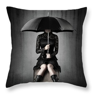 Black Rain Throw Pillow
