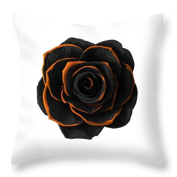Black Rose- Black And Gold Rose - Death - Minimal Black And Gold Decor - Dark 2 Throw Pillow
