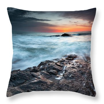 Black Sea Rocks Throw Pillow