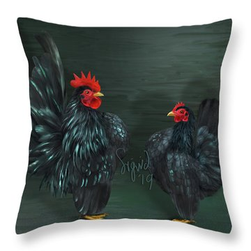 Black Serama Pair Throw Pillow