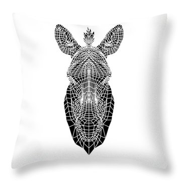 Black Zebra Head Mesh Throw Pillow