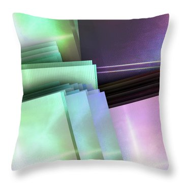 Blank Reflective Aluminum Plates. Blue, Pink And Purple. Fashion Abstract Background. Throw Pillow