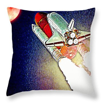 Throw Pillow featuring the digital art Blast Off To Mars by Pennie McCracken