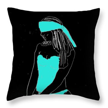 Blindfolded Throw Pillow