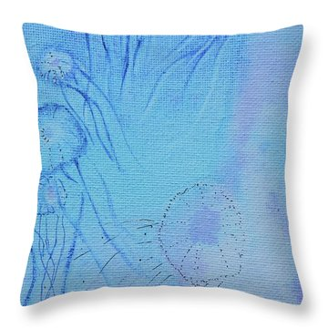 Throw Pillow featuring the painting Blooming Behind The Scenes by Kim Nelson