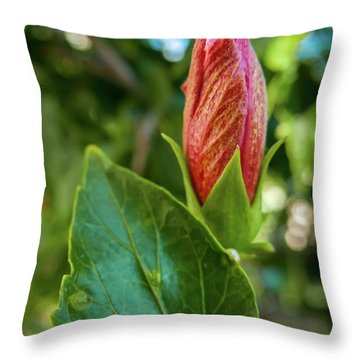 Blooming Hibiscus Throw Pillow
