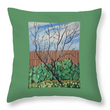 Blooming Peach In Our San Antonio Backyard Throw Pillow