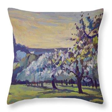 Blossom Trees Near Vijlen Throw Pillow