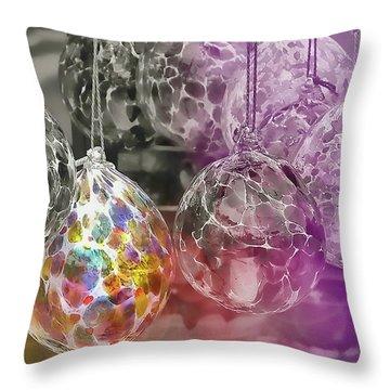 Blown Glass Ornaments Throw Pillow