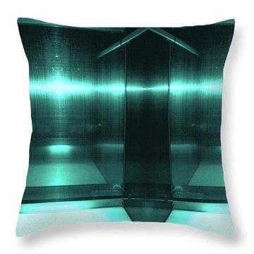 Blue Aluminum Surface. Metallic Fashion Geometric  Background Throw Pillow