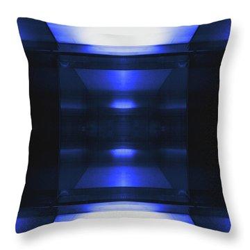 Blue Aluminum Surface. Metallic Geometric  Fashion Background Throw Pillow