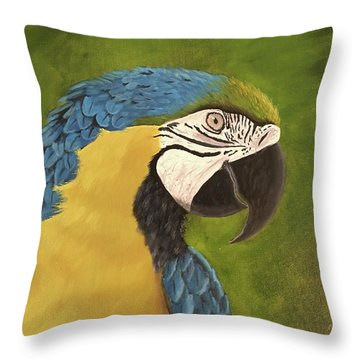 Blue And Gold Mccaw Throw Pillow