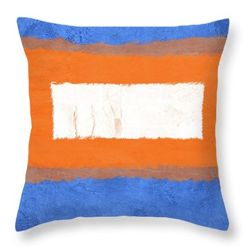 Blue And Orange Abstract Theme I Throw Pillow
