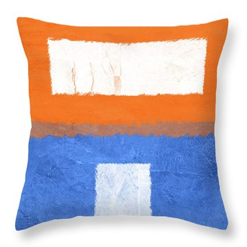 Blue And Orange Abstract Theme II Throw Pillow