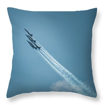 Throw Pillow featuring the photograph Blue Angel Rockets by Mark Duehmig