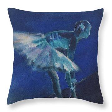 Blue Ballerina Throw Pillow